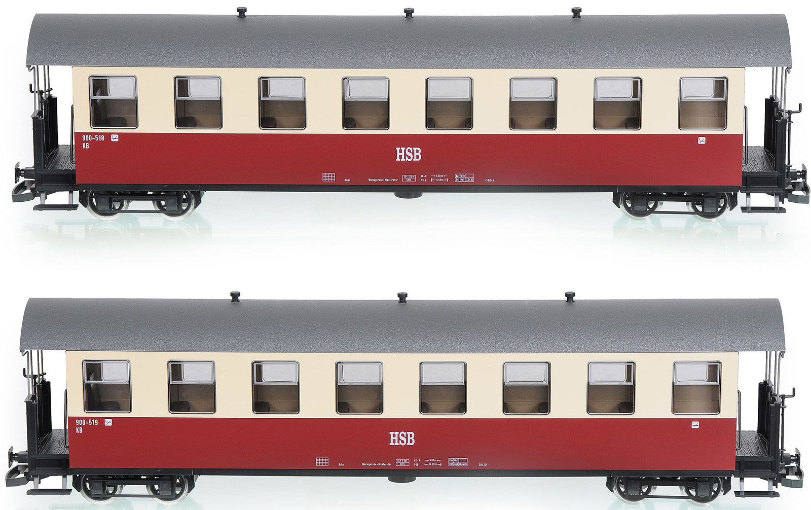 Personenwagen 8 Fenster HSB 2er Set 900-518, 900-519 Train Line 3530751