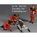 2 Sanitäter, Notarzt, verletzte Person auf Trage 4er Set Prehm 500133